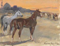 """Wojciech Kossak  """"Arabian horses"""", 1935"""