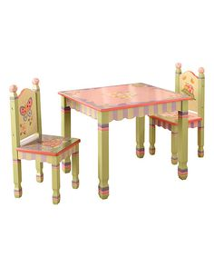 This whimsically-painted table is just right for hosting tiny tea parties and putting the princess' regal life story to paper. Like forests and fairies, this table pairs perfectly with Magic Garden chairs. • Chairs not included• 28'' W x 22.6'' H x 23.6'' D• Hand-painted • Medium-density fiberboard• Assembly required• Imported