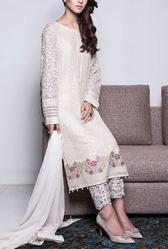 Buy White Embroidered Chiffon Salwar Kameez by Baroque 2015