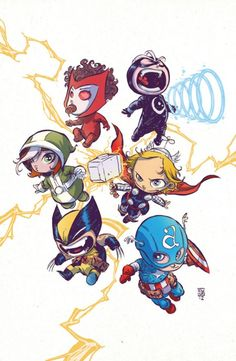 Rogue, Scarlet Witch, Havak, Thor, Captain America, and Wolverine