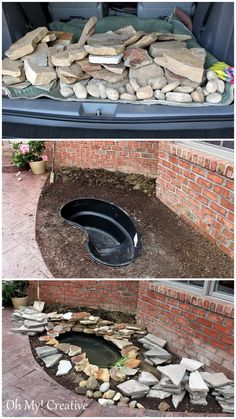 DIY backyard pond and landscape water feature. How to build a pond waterfall step by step. Save a lot of money by building your own backyard pond! Diy Garden Fountains, Pond Fountains, Fountain Garden, Garden Pond, Outdoor Ponds, Ponds Backyard, Outdoor Fountains, Design Fonte, Building A Pond