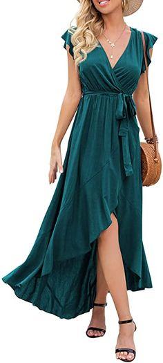 GRECERELLE Women's Summer Floral Print Cross V Neck Dress Bohemian Flowy Long Maxi Dresses at Amazon Women's Clothing store