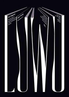 Intriguing poster with the letters' negative spaces forming a perspective of book pages.
