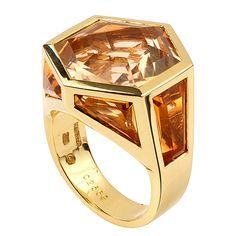 MARINA B. Geometric Citrine and Diamond Ring