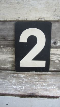 Vintage  Metal Number 2 or Number 3 Double Sided  White and Black Gas Station Price Sign Two Three