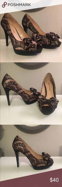 Black lace high heels LOWEST PRICE Only worn ONCE! No damage! These are a size 7 high heel and the heels are 3 1/2 inches high. Let me know if you have any questions and please feel free to make an offer! Audrey Brooke Shoes Heels