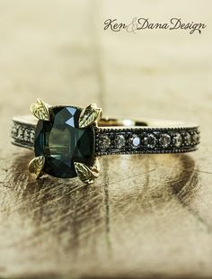 Green sapphire engagement ring by Ken & Dana Design