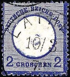 """German Empire 2 Gr., plate flaw X as well screwhead impression no. 3 (to Beutin) and additional embossing error: """"vertical unusual embossing left, missing part of the embossing to the right of the crown. . . """". Very depth colored copy (at the bottom on the right corner tooth lots) with clean single circle postmark LATHEN. In this varieties combination an unique piece the shields philately, certificate with photograph Sommer BPP.  Auction Minimum Bid: 500.00 EUR"""
