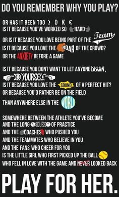 softball quotes can apply to volleyball Softball Memes, Softball Crafts, Volleyball Quotes, Basketball Quotes, Softball Players, Girls Softball, Fastpitch Softball, Lacrosse, Softball Stuff