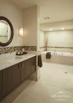 Contemporary Style Bathroom Design In Neutral Colors On Chicago Adorable Bathroom Designer Chicago Design Inspiration