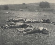 Death at Gettysburg:  Union soldiers lying dead on the battlefield at Gettysburg, Pennsylvania
