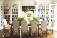 Library dining room idea - like the white bookshelves and the table in the middle