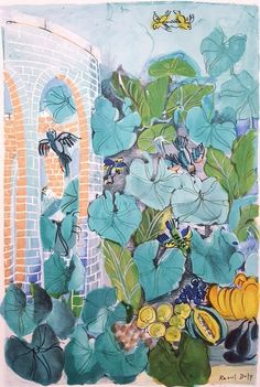 View this item and discover similar for sale at - An original lithograph on wove paper after French artist Raoul Dufy titled 'Le Jardin aux Oiseaux (Birds in Garden)', c. Raoul Dufy, Scenic Design, French Artists, See Picture, Beautiful Images, Printmaking, Birds, Watercolor, Illustration