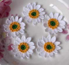 5 Crochet Sunflowers in 13/4 inches YH045 by YHcrochet on Etsy, $4.99