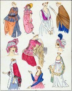 French revolution hairstyles. Directory, Regency era fashion.