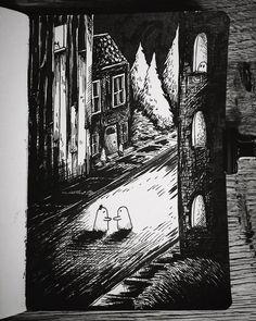 """ANNARACK ILLUSTRATION on Instagram: """"Day 5: Build #inktober #inktober2019 #drawing #annarack #ink #pendrawing #blackwork #ghost #artcollective #sketchbook #sketch…"""" Halloween Illustration, Halloween Themes, Inktober, Blackwork, Illustrators, Whimsical, Challenge, Sketch, Mood"""