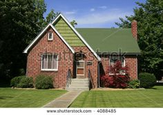 red brick with green siding - Google Search