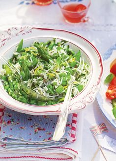 The rice bulks out this springtime salad, made with asparagus and broad beans, to make a filling lunch or dinner.