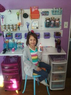 DIY kids art desk using tool organizers and stool. (dare I suggest this would work for a grownup as well?) Julia will need this for all of her creative thoughts. I just know it.