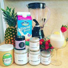 Morning Smoothie.  #goop #moondust #healthy #vegan #cordyceps #sexdust #maca #ashwagandha #hoshouwu #rawhoney #almondmilk #immunityfood #moonjuice #mushroom #nongmo #glutenfree #organic#medicinal