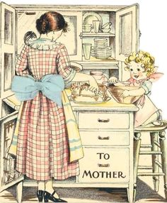Helping Mother with the Baking ~ 1930 Hallmark Mothers' Day Card