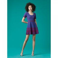 ダイアンフォンファステンバーグ|ワンピース Fit And Flare Knit Dress(French Blue/Red Desire)【受発注商品】