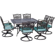 Hanover Outdoor Traditions 9-Piece Square Dining Set with Eight Swivel Dining Chairs and a 60 x 60 in. Dining Table