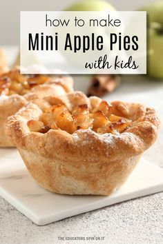!-- wp:paragraph -- pA perfect recipe for fall with kids! Create this easy to bake mini apple pie recipe with your child. /p !-- /wp:paragraph -- !-- wp:paragraph -- pA fun way to learn about baking in the kitchen with an apple themed book for kids. /p !-- /wp:paragraph -- Easy Apple Pie Recipe For Kids, Apple Pie Recipes, Blueberry Recipes, Fall Recipes, Baking Recipes, Cooking Classes For Kids, Cooking With Kids, Fun Cooking, Kids Meals