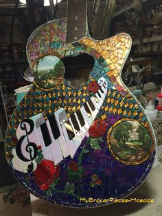 Mosaic Guitar Piano Rose Harlequin ...Friend with music store, had a warehouse fire.. :( Grabbed this out of the Dumpster.. Almost done..