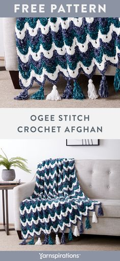 This elaborate crochet blanket is a masterpiece, featuring rows of arches in varying shades that combine to create an intricate striped design. The pattern features chain stitch, slip stitch and double crochet, worked back and forth in rows. Crochet Afghans, Crochet Ripple, Crochet Quilt, Afghan Crochet Patterns, Knit Or Crochet, Double Crochet, Blanket Crochet, Chunky Crochet Blankets, Chunky Crochet Blanket Pattern Free
