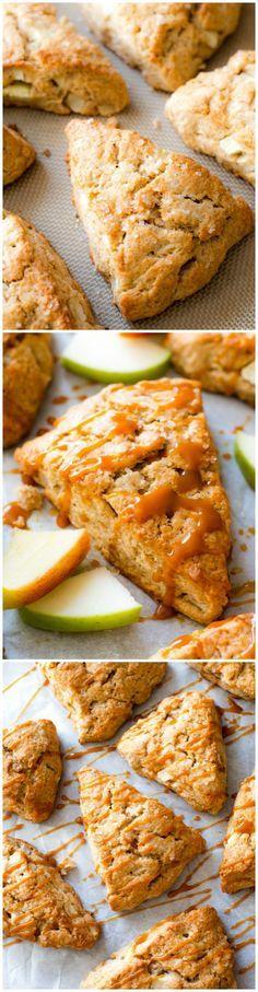 Homemade apple cinnamon scones with crunchy tops, warm centers, and caramel drizzles! Recipe on sallysbakingaddiction.com
