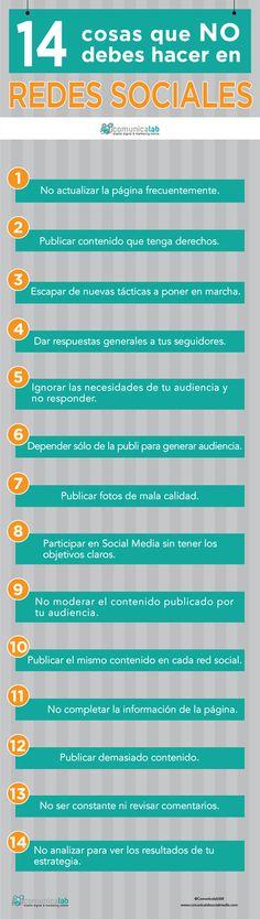 14 cosas que no debes hacer en Redes Sociales #infografia #infographic…