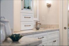 Top Knobs hardware shines in this bath design from Principle Design & Construction in DC. Bath Design, Double Vanity, Hardware, Bathrooms, Top, Construction, Decor, Building, Restroom Design