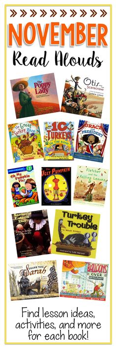 November Read Alouds - A collection of great books for the month of November, with activities, lesson ideas, and freebies from Books Teachers Love!