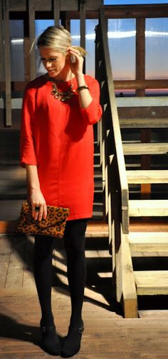 The little red shift dress + black tights. d87a97afb