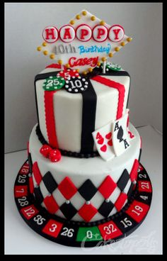 And although casino games seem. really unique ideas here from formal cakes to birthday cakes. - it doesn't matter if your having a casino theme party,. Casino Party, Fète Casino, Vegas Party, Casino Cakes, Casino Theme Parties, Casino Royale, Themed Parties, Birthday Cake For Husband, 40th Birthday Cakes
