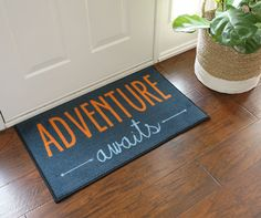 Adventure Awaits Welcome Doormat - 2x3 - Navy * Find out more about the great product at the image link. (This is an affiliate link and I receive a commission for the sales)