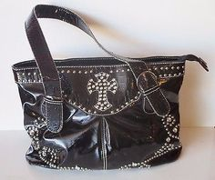 Black Beaded Cross Design Purse