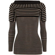 Burberry Prorsum Contrast-knit striped wool sweater ($583) ❤ liked on Polyvore featuring tops, sweaters, black, striped knit sweater, striped top, woolen sweaters, black knit sweater and black wool sweater