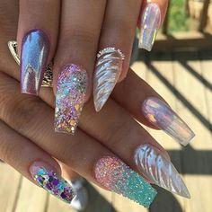 Trendy nails, summer acrylic nails designs, bling acrylic nails, acrylic to Chunky Glitter Nails, Bling Acrylic Nails, Summer Acrylic Nails, Acrylic Nail Art, Bling Nails, Acrylic Nail Designs, Nail Art Designs, Acrylic Toes, Stiletto Nails
