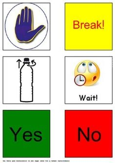 """There are 6 Autism & Special Needs Communication Cards: """"Help!"""", """"Open the bottle!"""","""" Break!"""", """"Wait!"""", """"Yes"""" and """"No"""". the page must be printed, laminated and cut out. The cards can be used also as PECS cards."""