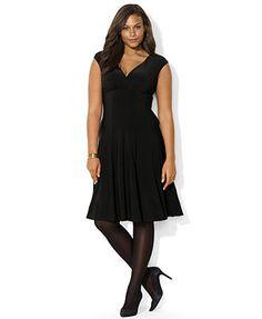 Lauren Ralph Lauren Plus Size Cap-Sleeve A-Line Dress www.macys.com