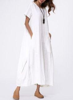 Pamuk maksi gündelik Kısa kol Katı Elbiseler