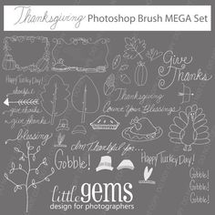Thanksgiving, Autumn, Fall  Frames Photoshop Brushes Mega Set/ Overlays for Photographers / chalk/ Clip Art / Stamps / Digital Scrapbooking