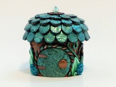 Tooth Fairy Home: Metallic Turquoise Fairy Jar by MiniWhimsies