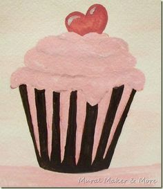 Come join Passion for Paint party this weekend. Cupcake Painting, Cupcake Art, Kids Canvas, Canvas Art, Canvas Paintings, Coffee Painting, Art Party, Elements Of Art, Learn To Paint