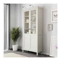 HEMNES Cabinet with panel/glass door, white stain white stain 35 3/8x77 1/2