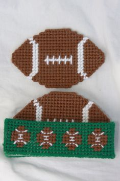 Plastic Canvas-Football Coaster Set....maybe for the men in my church who follow football!