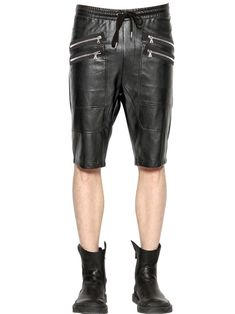 New Genuine Leather Chaps Lace up Style Cropped Short Shorts snap closure Mens