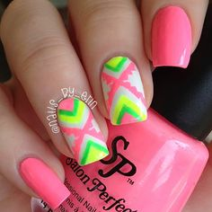 """These are my neon Aztec/tribal nails using Salon Perfect """"Tickled Pink"""", """"Loopy Lime"""", """"Sugar Cube"""" and """"Yowza Yellow"""" from their Neon Pop collection. Crazy Nails, Love Nails, Pretty Nails, Nail Polish Designs, Cute Nail Designs, Nails Design, Neon Aztec Nails, Nailart, Nail Time"""